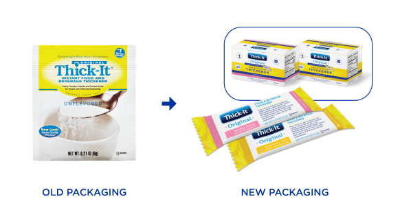 Thick-It® Original Food & Beverage Thickener single-serve packets in its old packaging - a square packet - and its new packaging - a sleek stick design