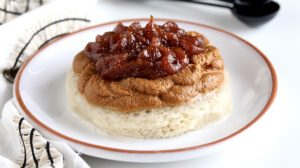 Puréed Barbecue Beef Sandwich made using Thick-It<span class=